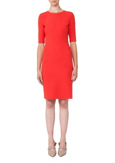Akris Half-Sleeve Double-Face Wool Dress