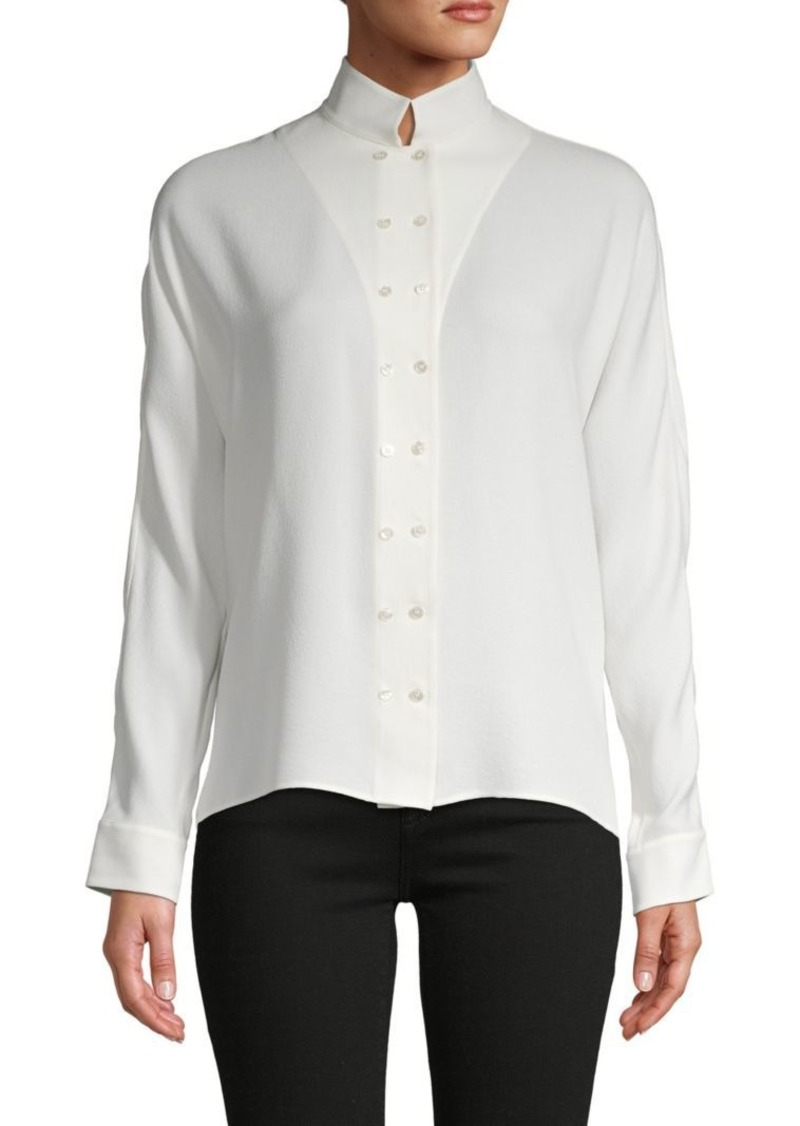 Akris High Neck Silk Top