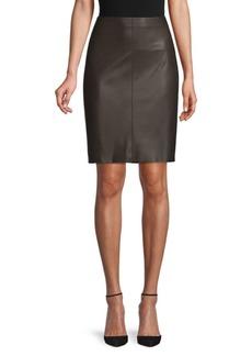 Akris High-Waist Leather Skirt