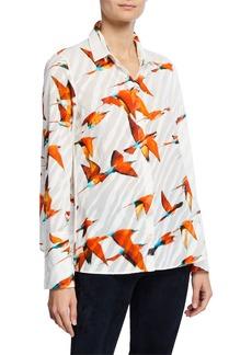 Akris Hummingbird Print Button-Down Cotton Blouse
