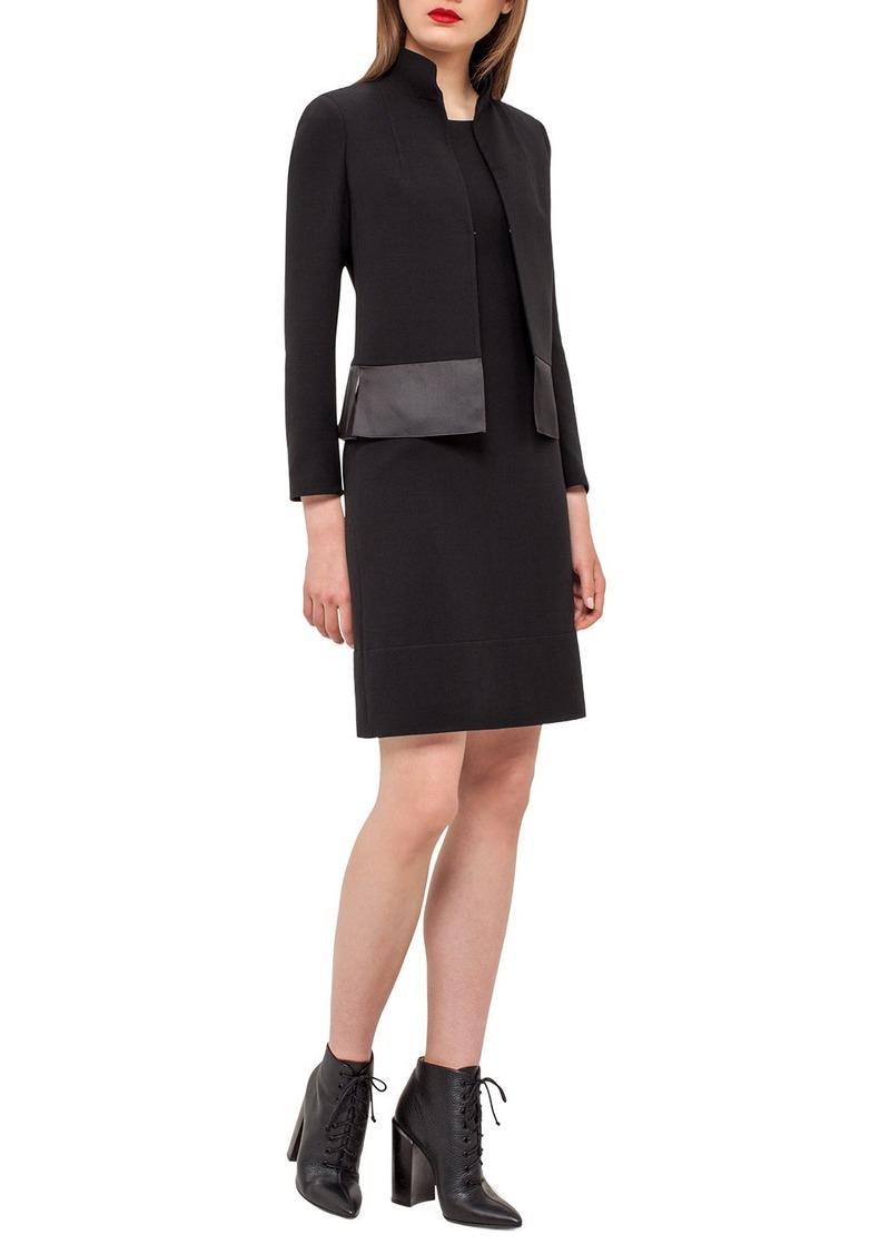Akris Ilke Organza-Hem Long-Sleeve Jacket  Black