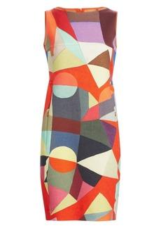 Akris Indian Summer Printed Wool Sheath Dress
