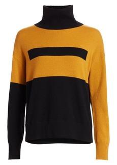 Akris Intarsia Graphic Cashmere Turtleneck Sweater