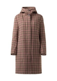 Akris Isolde Plaid Stretch-Wool Hooded Jacket