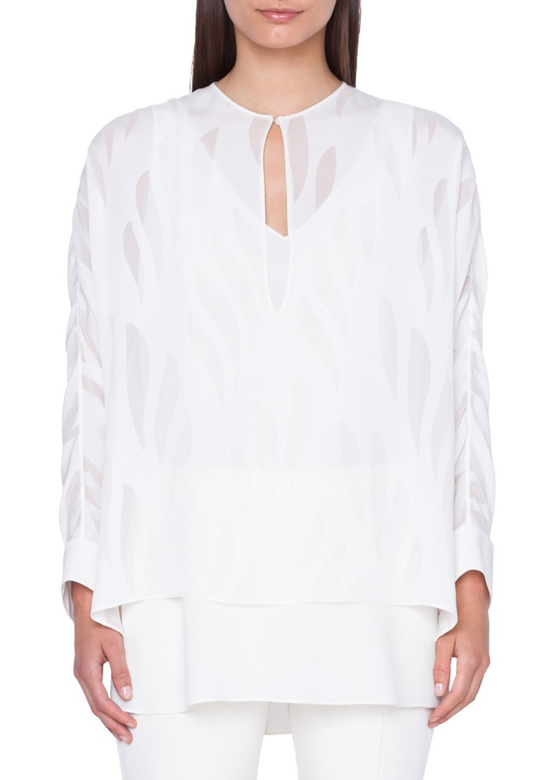 Akris Kimono-Sleeve Devore Silk Blouse