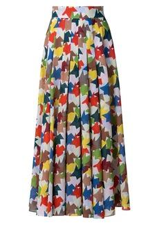 Akris Kinderstern Print Pleated Maxi A-Line Skirt
