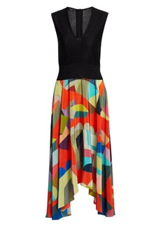 Akris Knit Silk Printed Midi Dress
