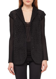 Akris Laser-Cut Knit-Back Jacket