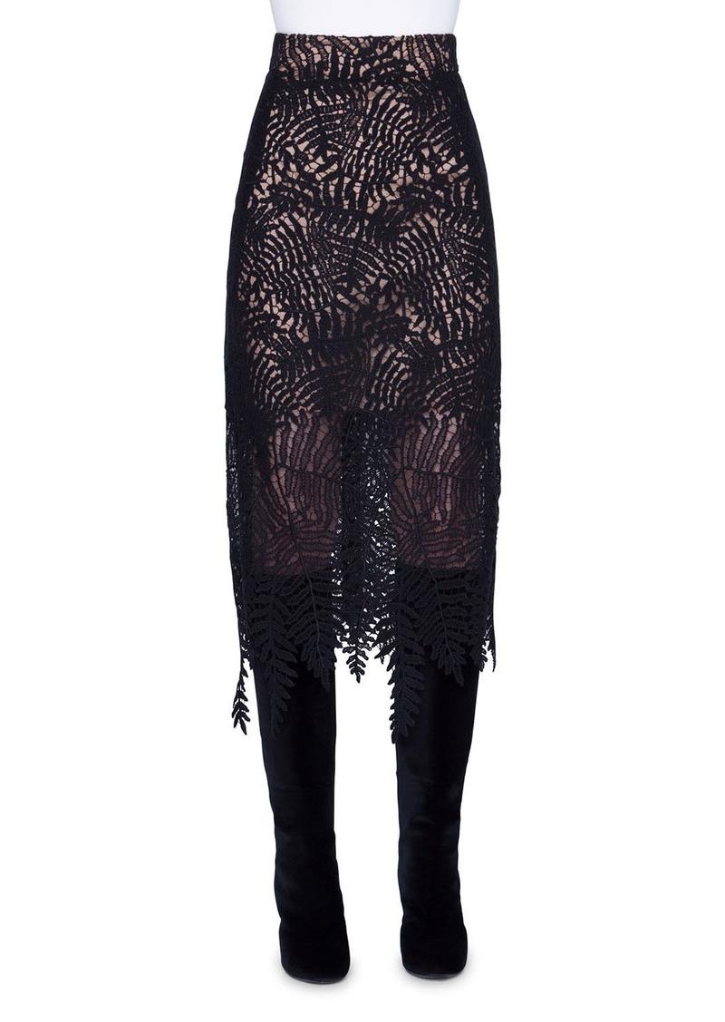 Akris Leaf Lace Midi Skirt