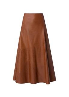 Akris Leather A-Line Midi Skirt