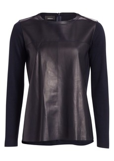 Akris Leather Front Crewneck Top
