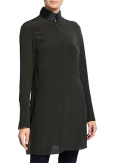 Akris Leather-Trim Silk Shantung Tunic  Turtle