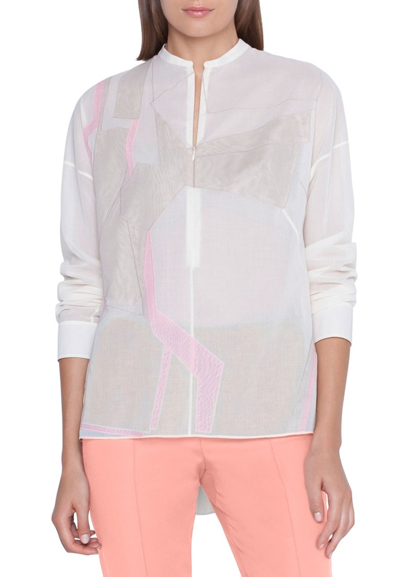 Akris Linia Patchwork Button-Front Blouse