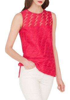 Akris Lips-Embroidered Sleeveless Blouse w/ Side Slits