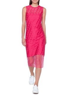 Akris Lips-Embroidered Sleeveless Sheath Midi Dress w/ Slip
