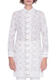 Akris Long Double-Breasted Leporello Print Tunic Blouse