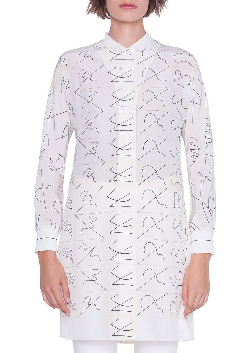 Akris Long Double-Breasted Leporello Print Tunic Blouse