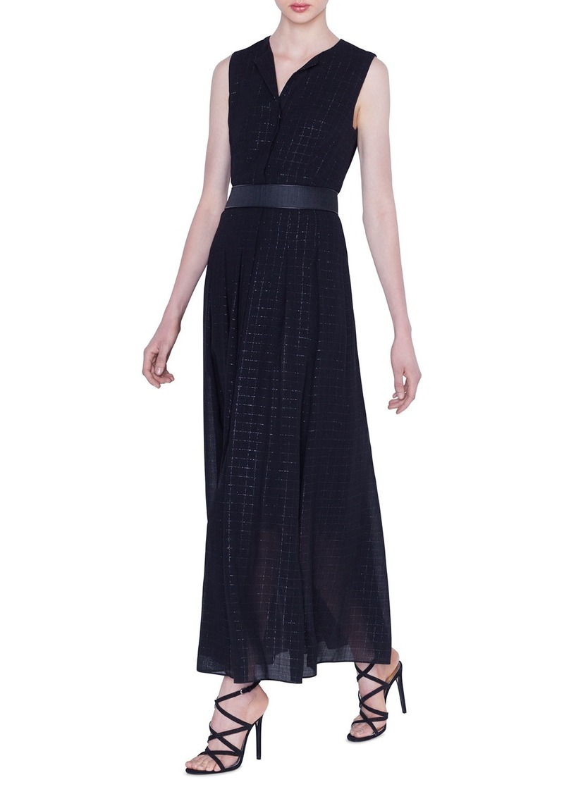 Akris Long Metallic Plaid Dress