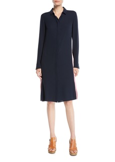 Akris Long-Sleeve Button-Front Racing-Stripe Wool Shirtdress w/ Zip Slits