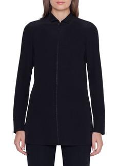 Akris Long-Sleeve Embellished Silk-Crepe Tunic