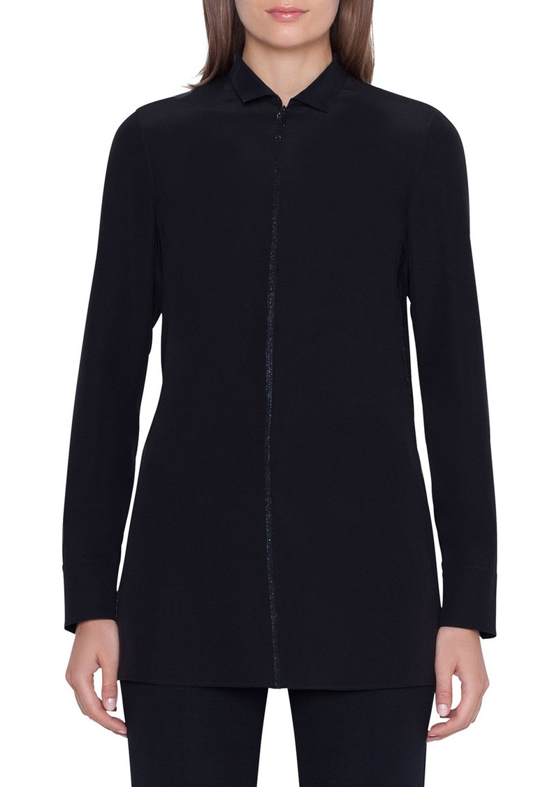 Akris Long-Sleeve Embellished Silk-Crepe Tunic