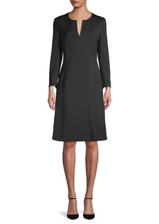 Akris Long-Sleeve Stretch-Silk A-Line Dress