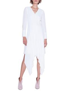 Akris Long-Sleeve V-Neck Asymmetric Hem Dress
