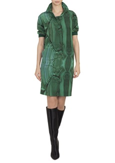 Akris Malachite-Print Silk Button-Front Shirtdress