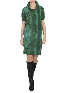 Akris Malachite-Print Silk Button-Front Shirtdress