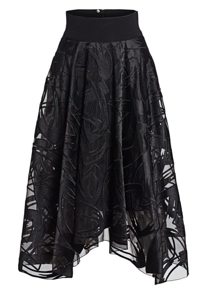 Akris Marker Embroidered A-Line Skirt