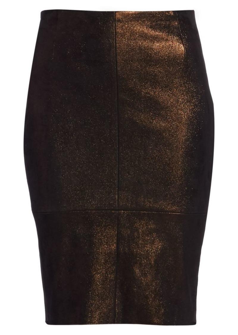 Akris Metallic Leather Pencil Skirt