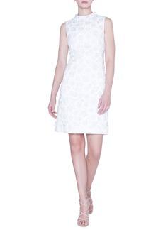 Akris Mock-Neck Flower-Jacquard Dress