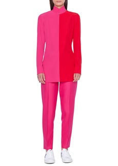 Akris Mock-Neck Long-Sleeve Bi-Color Blouse