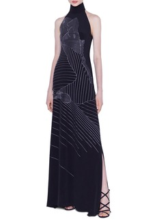 Akris Mountain Embroidered Silk-Crepe Gown