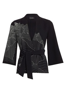 Akris Mountain Print Embroidered Kimono Jacket