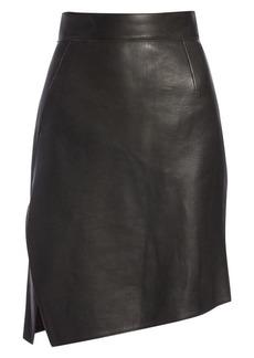 Akris Nappa Leather Asymmetric A-Line Skirt