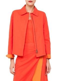 Akris Natalie Zip-Front Double-Face Bicolor Cotton Jacket