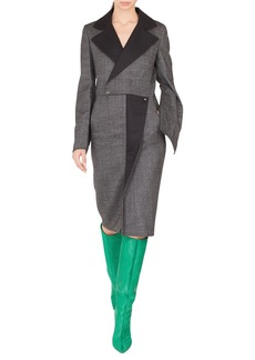 Akris Notched-Lapel Wrap-Style Wool Tweed Dress