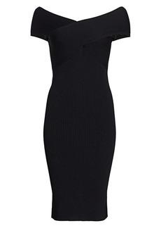 Akris Off-The-Shoulder Ribbed Midi Dress