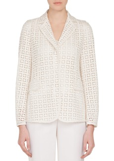 Akris One-Button Secret Curtain Embroidered Jacket