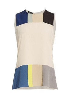 Akris Pittura Printed Sleeveless Silk Blouse