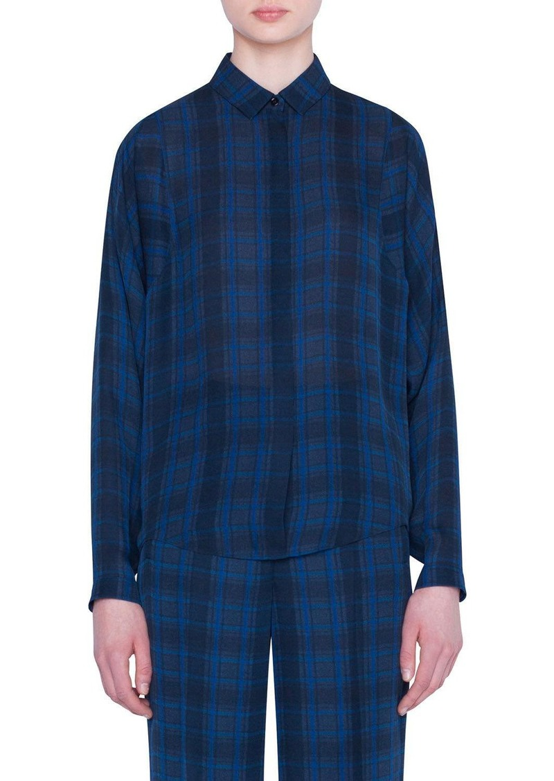 Akris Plaid Silk Full-Sleeve Shirt