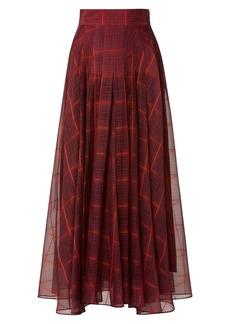 Akris Plaid Silk-Organza Pleated Maxi A-Line Skirt