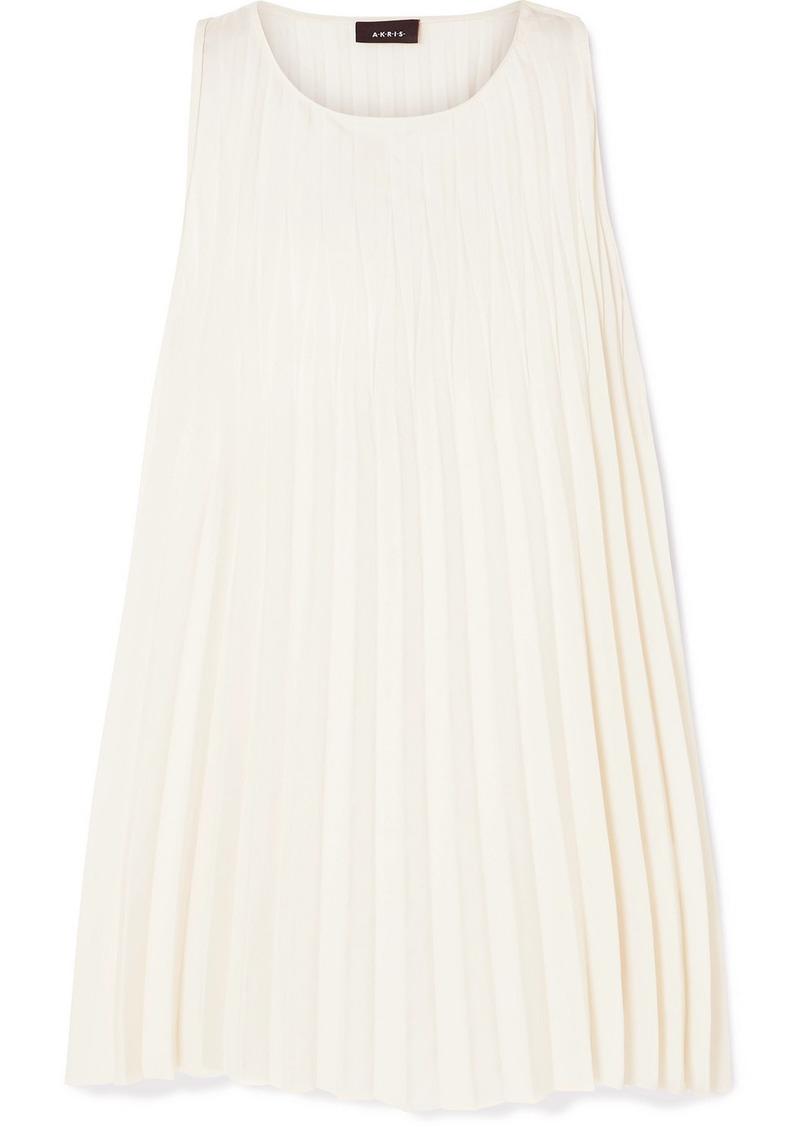 Akris Pleated Crepe De Chine Top