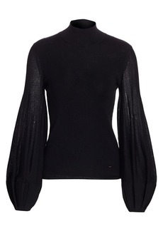 Akris Pleated Puff-Sleeve Knit Mockneck Top
