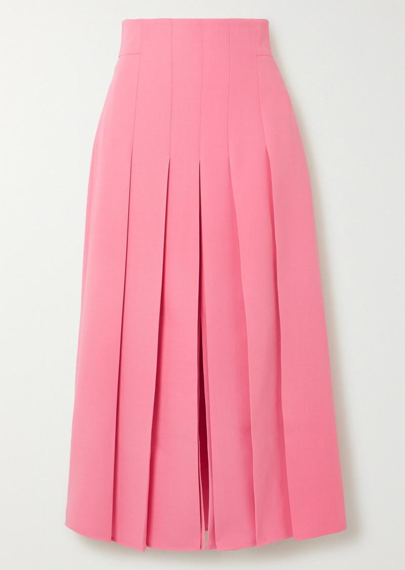 Akris Pleated Wool-blend Midi Skirt
