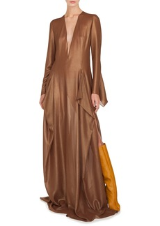 Akris Plunging Long-Sleeve Side-Slit Draped Metallic-Silk Evening Gown