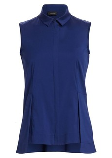 Akris Poplin Sleeveless Peplum Blouse