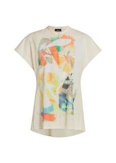 Akris Printed Splitneck High-Low Shirt