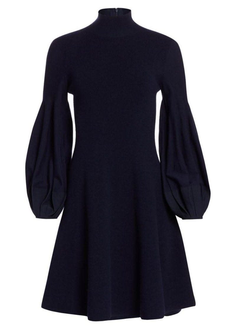 Akris Puff-Sleeve Rib-Knit Dress